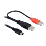 Delock kábel, 2db USB-A 2.0 apa - USB mini 5 tűs