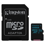 Kingston 128GB SD micro Canvas Go (SDXC Class 10 UHS-I U3) (SDCG2/128GB) memória kártya adapterrel