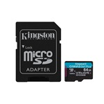 Kingston 64GB SD micro Canvas Go! Plus (SDXC Class 10  UHS-I U3) (SDCG3/64GB) memória kártya adapterrel