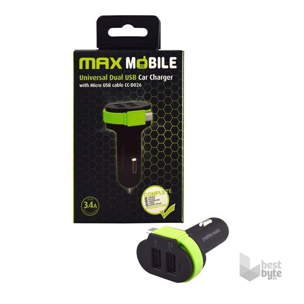 Max Mobile 3.4A univerzális 2xUSB fekete zöld autós töltő Micro USB kábellel