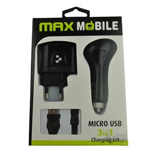 Max Mobile micro USB 3 in 1 töltő szett BestByte | Elektronikai szaküzlet és webáruház BestByte.hu