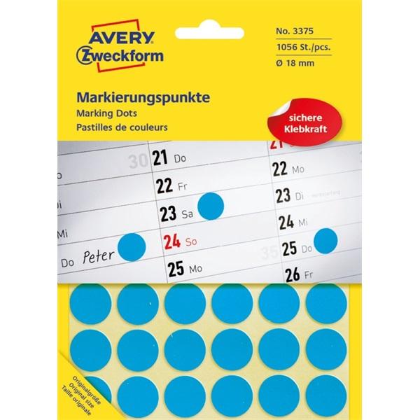 Avery 3375 18mm 1056db-os kék jelölőpont - 1