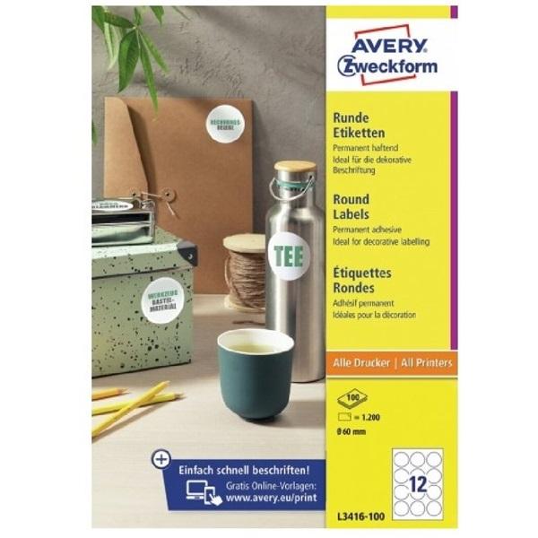 Avery L3416-100 60mm 1200db-os fehér köretikett - 1