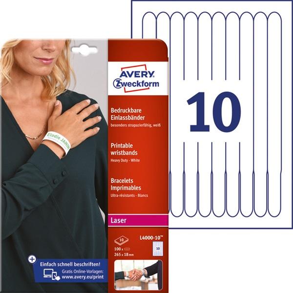 Avery L4000-10 265x18mm nyomtatható 10db-os fehér karszalag - 2
