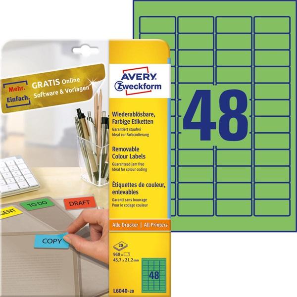 Avery L6040-20 45,7x21,2mm visszaszedhető 960db-os zöld etikett - 2