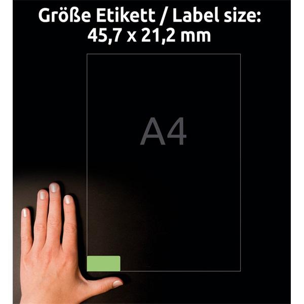 Avery L6040-20 45,7x21,2mm visszaszedhető 960db-os zöld etikett - 6