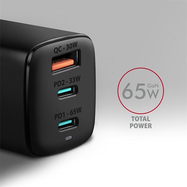 Axagon ACU-DPQ65 GaN USB-A + 2xUSB-C PD3.0/QC4+/PPS/Apple 65W hálózati töltő - 2