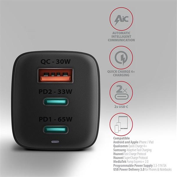 Axagon ACU-DPQ65 GaN USB-A + 2xUSB-C PD3.0/QC4+/PPS/Apple 65W hálózati töltő - 4