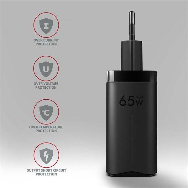 Axagon ACU-DPQ65 GaN USB-A + 2xUSB-C PD3.0/QC4+/PPS/Apple 65W hálózati töltő - 5