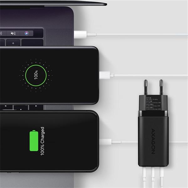 Axagon ACU-DPQ65 GaN USB-A + 2xUSB-C PD3.0/QC4+/PPS/Apple 65W hálózati töltő - 6