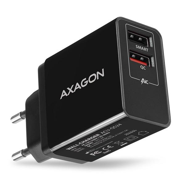 Axagon ACU-QS24 QC3.0 + 5V-1.2A fekete fali töltő - 1