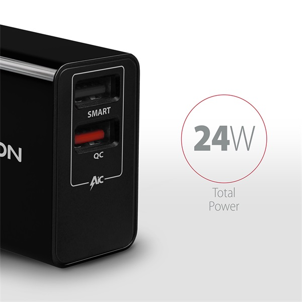 Axagon ACU-QS24 QC3.0 + 5V-1.2A fekete fali töltő - 2