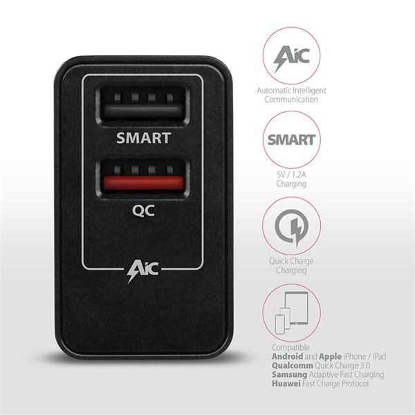 Axagon ACU-QS24 QC3.0 + 5V-1.2A fekete fali töltő - 4