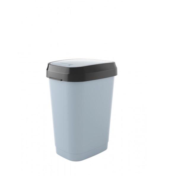 Dual műanyag billenő fedeles szemetes 50 l, szürke - 1