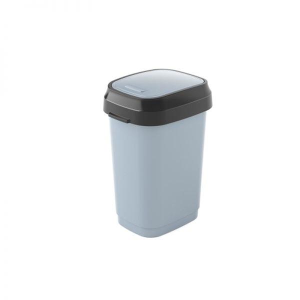 Dual műanyag billenőfedeles szemetes 10 l, szürke - 1