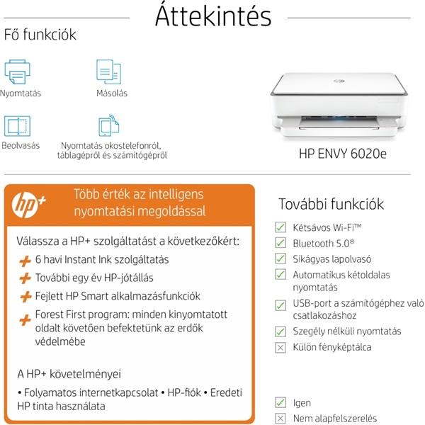 HP Envy 6020E AiO multifunkciós tintasugaras Instant Ink ready nyomtató - 27