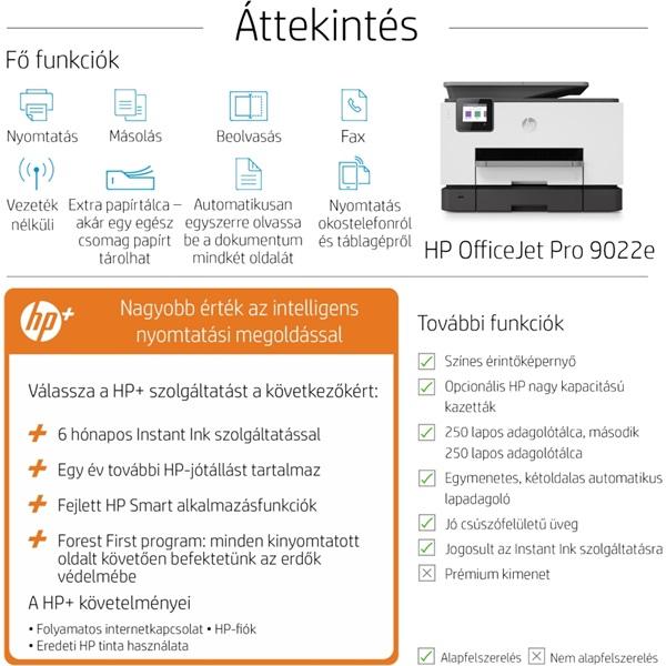 HP OfficeJet Pro 9022E All-in-One multifunkciós tintasugaras Instant Ink ready nyomtató - 7