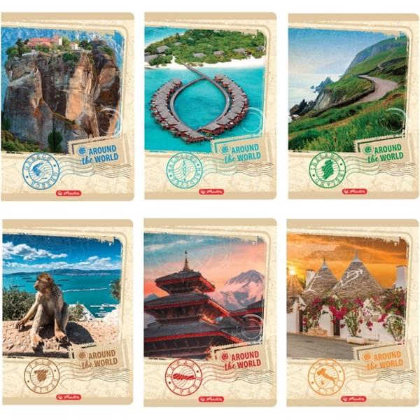 Herlitz Around the World 3D UV soft touch A4 60lapos vonalas füzet - 1