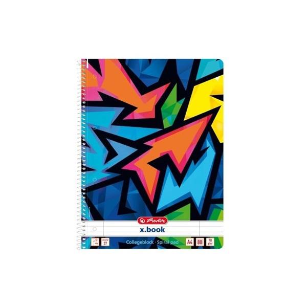 Herlitz Neon Art A4 80lapos vonalas spirálfüzet - 1