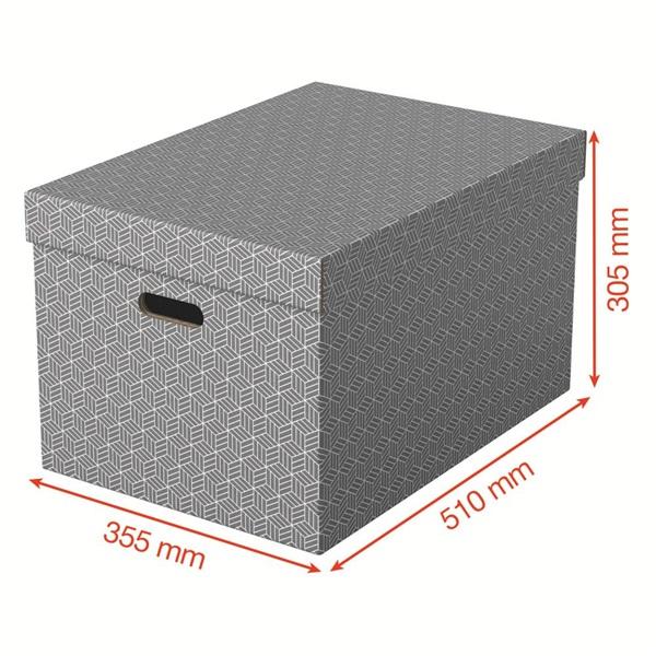 Home L méret 3db/csomag szürke tárolódoboz - 3