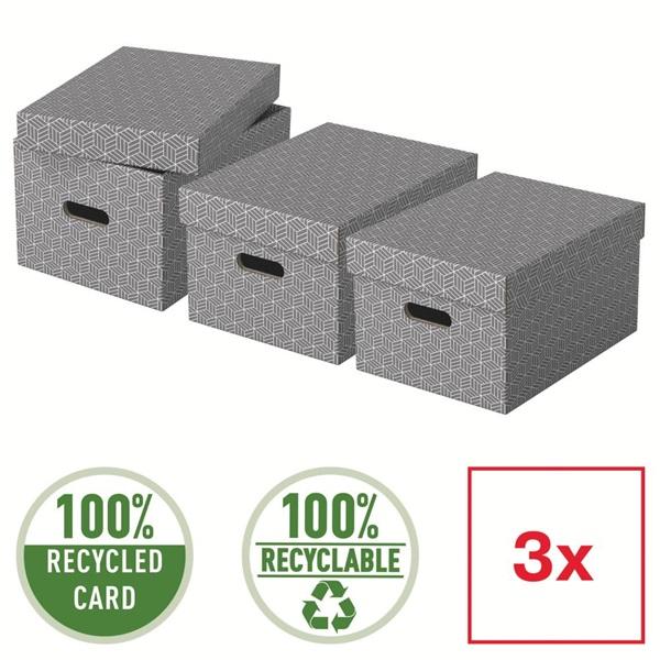 Home M méret 3db/csomag szürke tárolódoboz - 4