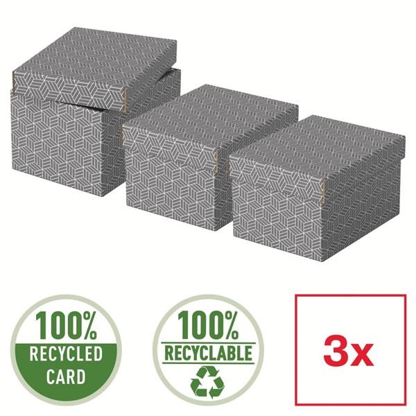 Home S méret 3db/csomag szürke tárolódoboz - 5