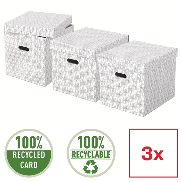 Home kocka alakú 3db/csomag fehér tárolódoboz - 4