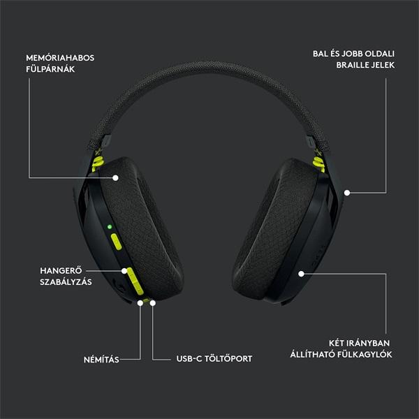 Logitech G435 Lightspeed Dolby Atmos 7.1 Surround Wireless fekete vezeték nélküli gamer headset - 8