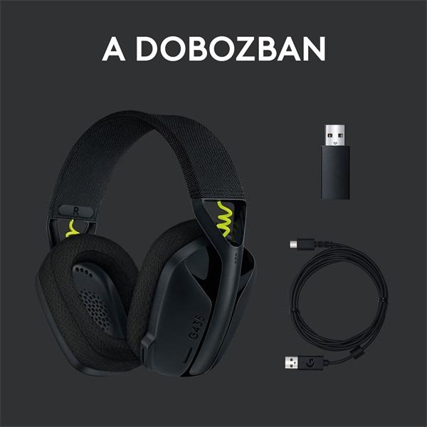 Logitech G435 Lightspeed Dolby Atmos 7.1 Surround Wireless fekete vezeték nélküli gamer headset - 9