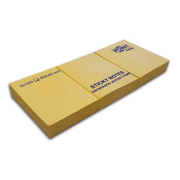 Point 40x50 3db/csomag sárga öntapadós jegyzettömb - 1
