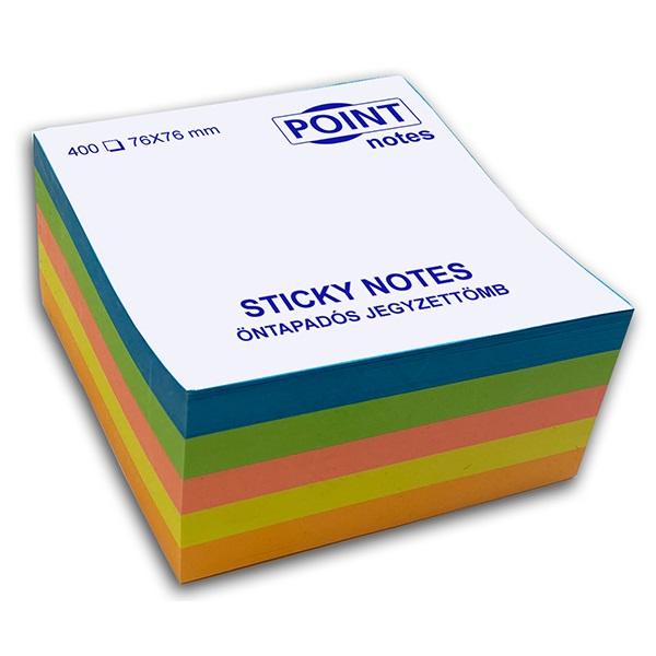 Point Cube 76x76mm 400lapos többféle élénk színű öntapadós jegyzettömb - 1