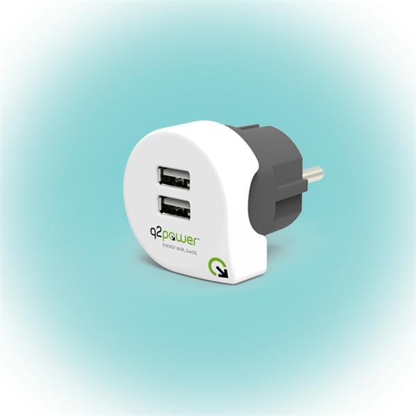 Q2 Power Q2CHARGE2 Európa 2.4A univerzális 2x USB hálózati töltő a PlayIT Store-nál most bruttó 15.999 Ft.