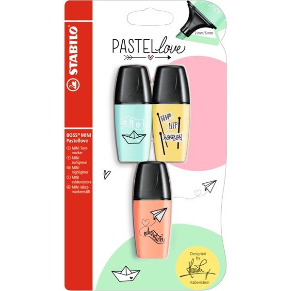 Stabilo Boss Mini Pastellove 3db-os vegyes színű szövegkiemelő - 1