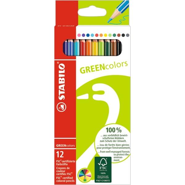 Stabilo Greencolors 12db-os vegyes színű színes ceruza - 1