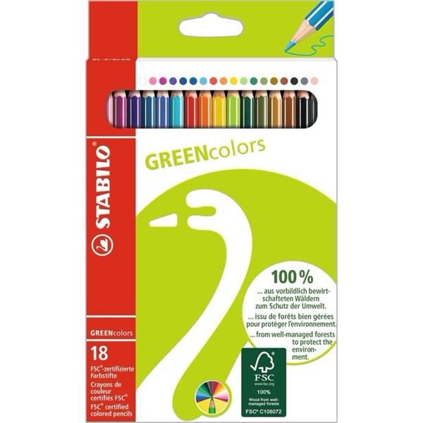 Stabilo Greencolors 18db-os vegyes színű színes ceruza - 1