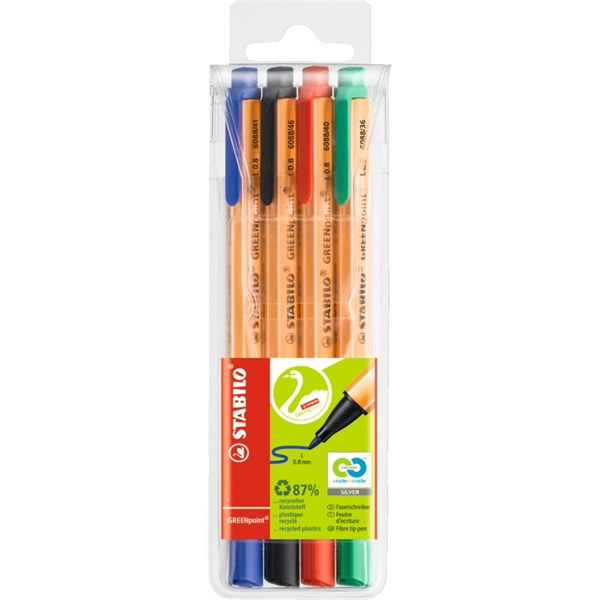 Stabilo Greenpoint 4db-os vegyes színű filctoll készlet - 1