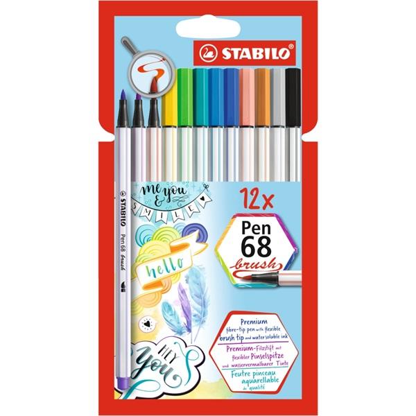 Stabilo Pen 68 brush 12db-os vegyes színű ecsetfilc - 1