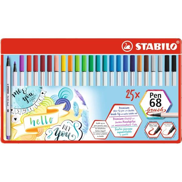 Stabilo Pen 68 brush 25db-os ecsetfilc készlet - 1