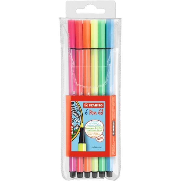 Stabilo Pen 68 neon 6db-os vegyes színű filctoll készlet - 1