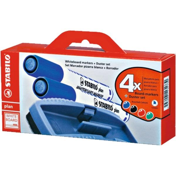 Stabilo Plan 2,5-3,5mm kúpos hegyű 4db-os vegyes színű táblamarker készlet + törlőszivacs - 1