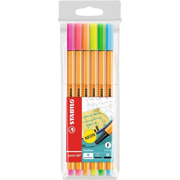 Stabilo Point 88 neon 6db-os vegyes színű tűfilc készlet - 1
