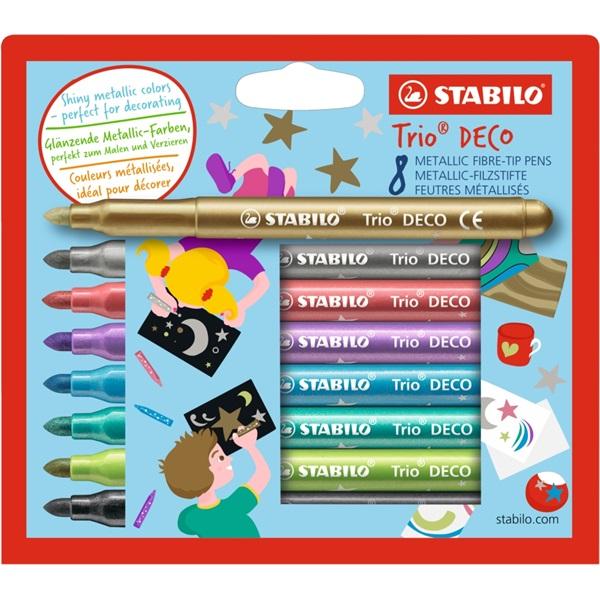 Stabilo Trio Deco 8db-os metálszínű filctoll készlet - 1