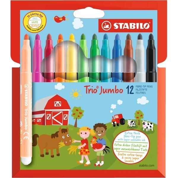 Stabilo Trio Jumbo 12db-os vegyes színű filctoll készlet - 1