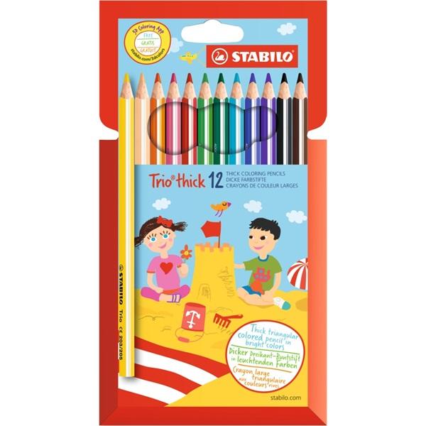 Stabilo Trio vastag 12db-os vegyes színű színes ceruza - 1