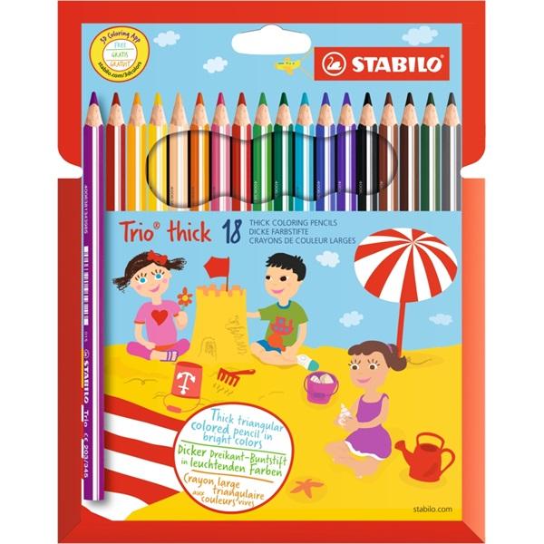 Stabilo Trio vastag 18db-os vegyes színű színes ceruza - 1
