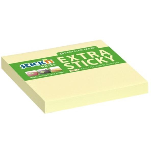 StickN ExtraSticky Recycled 76x76mm 90lap újrahasznosított pasztell sárga jegyzettömb - 1
