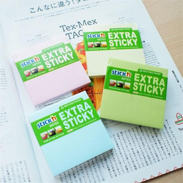 StickN ExtraSticky Recycled 76x76mm 90lap újrahasznosított pasztell sárga jegyzettömb - 2