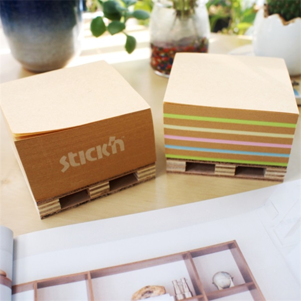 StickN KraftCube 76x76mm 400lap újrahasznosított színes öntapadó jegyzettömb - 2