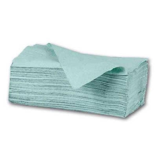 250lap/csomag 1 rétegű Z hajtogatású zöld kéztörlő - 1